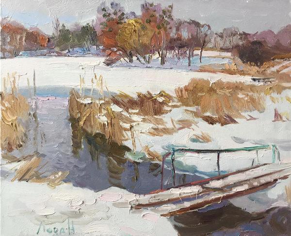 Мостик на зимнем пруду 50х60 - 2017