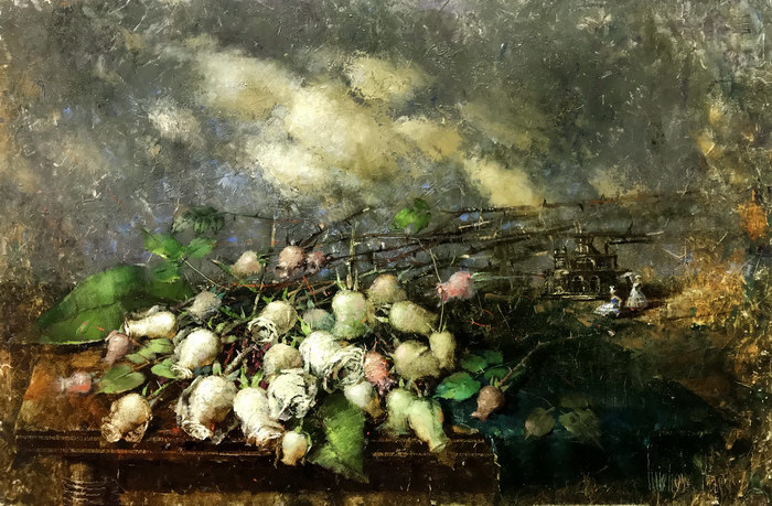 Охапка белых роз