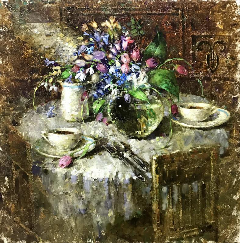 Завтрак с первыми весенними цветами